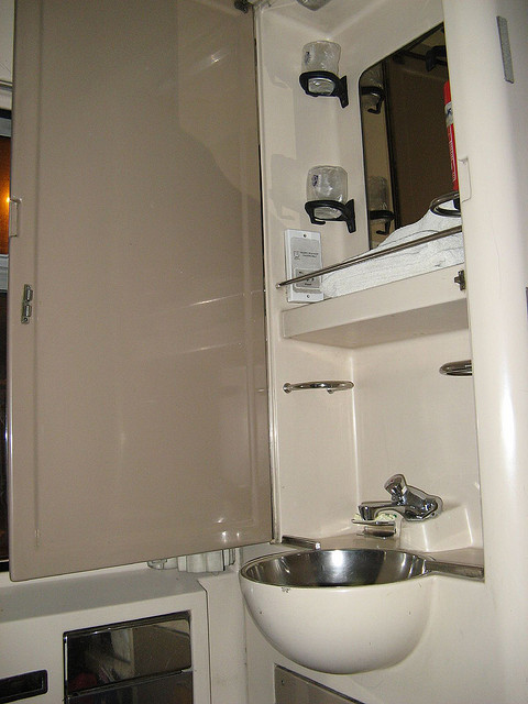 In Each cabin, there is a washbowl with water tab. Photo by:  Heidi byerly
